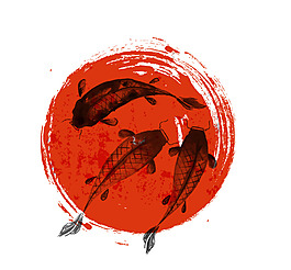中国风水墨鱼