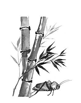 水墨中國風竹子