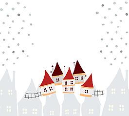 白色下雪天插畫風景背景矢量素材