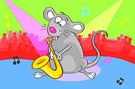 吹小號的老鼠插畫風景背景矢量素材
