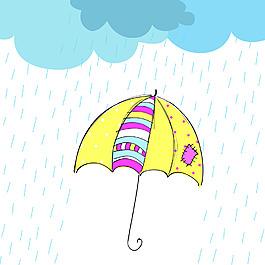 下雨天儿童插画风景背景矢量素材