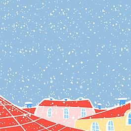 下雪的城市插畫風景背景矢量素材