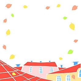 秋天樹葉插畫風景背景矢量素材