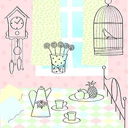 粉色房間插畫風景背景矢量素材
