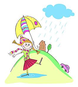 小女孩插畫風景背景矢量素材