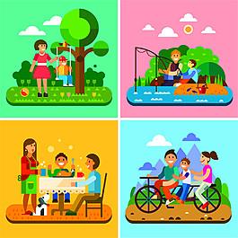 扁平化家庭漫畫圖片