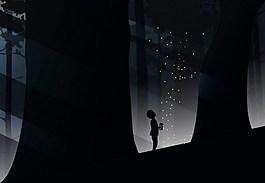 夜晚黑色森林背景圖