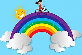 彩虹上騎自行車的女孩