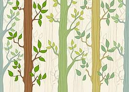 大樹綠色葉子無縫矢量圖