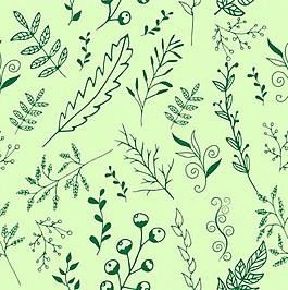 綠色手繪植物葉子矢量圖