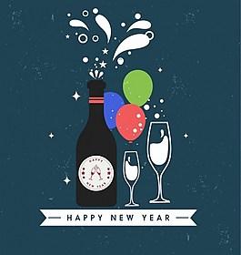 庆祝新年背景矢量图