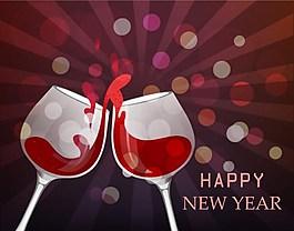 庆祝新年红酒矢量图