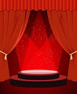 喜庆红色舞台背景图