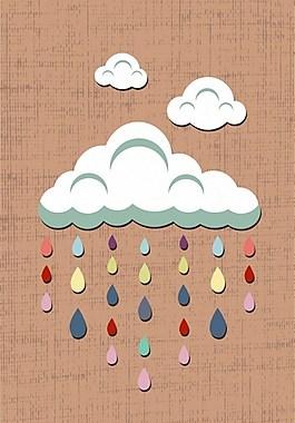 彩色雨滴白云背景圖
