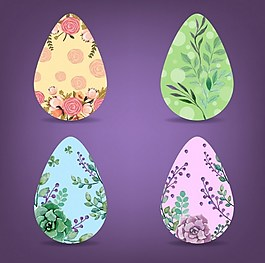鸡蛋上漂亮的花卉矢量图