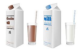 牛奶和牛奶包裝盒圖片