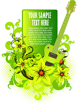 吉他綠色花卉素材