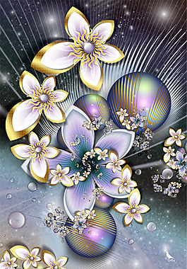 放射花朵圆球背景图