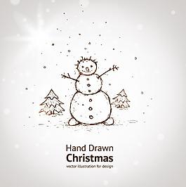 線稿手繪雪人素材