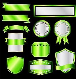 綠色標簽彩帶矢量圖