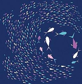漂亮海洋魚類圓圈背景圖