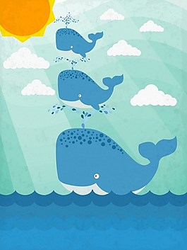 海洋可愛藍色鯨魚背景圖