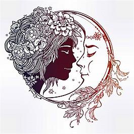 卡通女孩月亮漫画图片