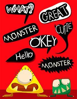 话框与卡通怪物图片