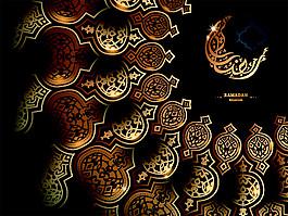 金色花紋齋月節圖片