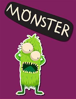开心的绿色怪物图片