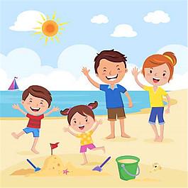 沙滩玩耍的家庭图片