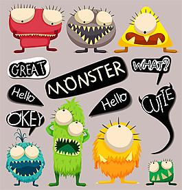 卡通对话框怪兽图片