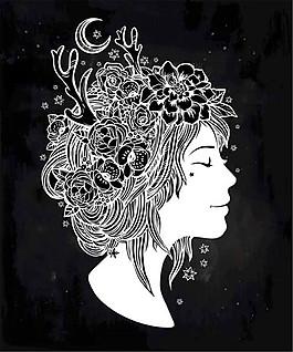 卡通花朵女人插畫圖片