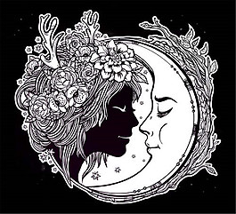 卡通花朵女人插画图片