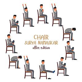 椅子上的卡通男人圖片