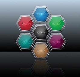 彩色六边形按钮背景图