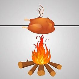 野外烤鸡背景图