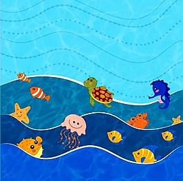 藍色海洋可愛生物背景圖