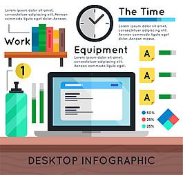 扁平化办公桌面商务信息图矢量素材