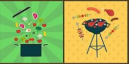 蔬菜肉类炒锅背景图