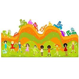 手繪兒童玩耍元素