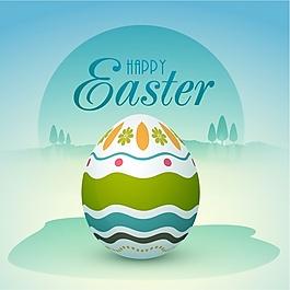 藍色復活節背景配裝飾蛋