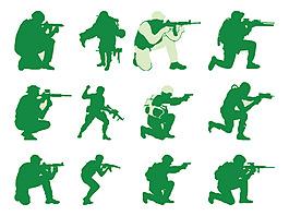 手繪軍人機槍元素