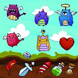 卡通創意手游界面設計UI設計EPS矢量