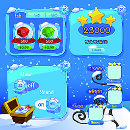 冰雪手游界面设计UI设计EPS矢量