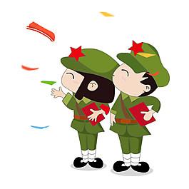 卡通軍人國慶素材