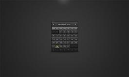 黑色的網頁手機日歷設計