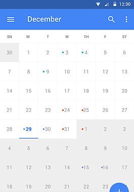 藍色手機日歷界面設計