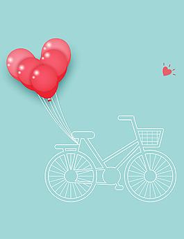 簡約日系風格扁平心形自行車矢量背景
