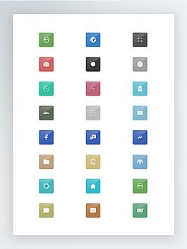 扁平化帶陰影的圓形app圖標